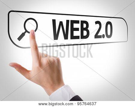 Web 2.0 written in search bar on virtual screen