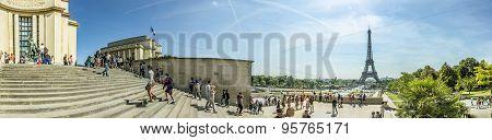 People Visit The Trocadero, Palais De Chaillot