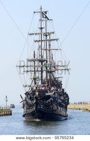 USTKA - JULY 05: Pirate touristic ship