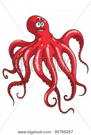 Red octopus animal cartoon character
