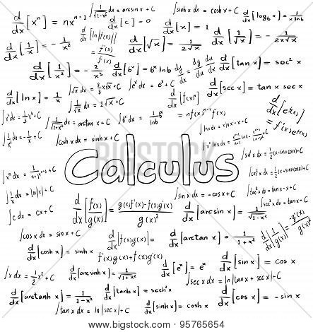 Calculus Law Theory And Mathematical Formula Equation, Doodle Handwriting Icon In White Isolated Bac