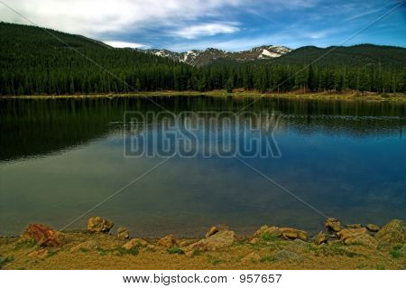 Colorado Mountains And Lake With Blue Sky