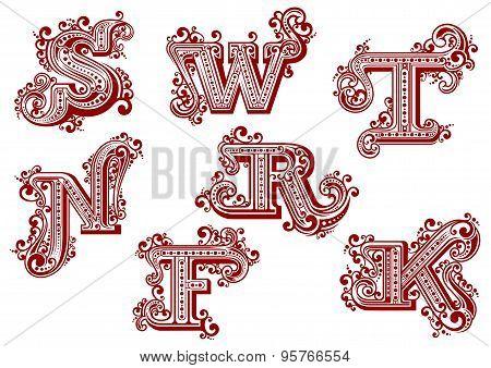 Vintage uppercase red floral letters