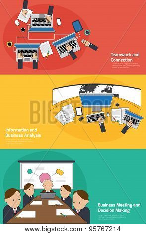 Business Infographic Activities Banner Of Teamwork And Connection, Planing And Analyzing, Meeting An