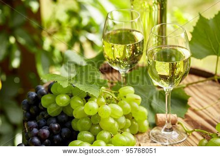 Bottle of white wine with wineglass and grapes on garden terrace