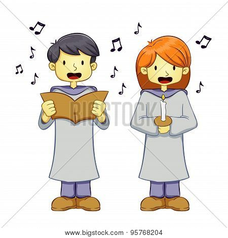 Young Boy And Girl Singing in Choir Uniform