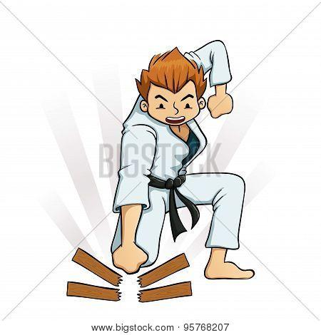 Young Boy Breaking Boards In Karate Uniform