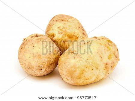 Young Potatoes On A White Background
