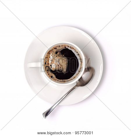 isolated white cup of coffee with saucer. View from above