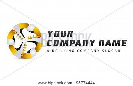 Logo template, coal plow, drilling bore, mining equpment