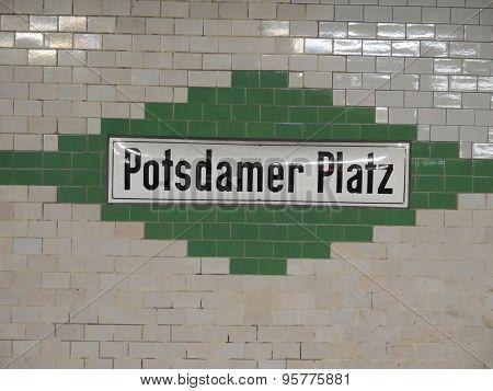 Decorative U-bahn station sign on Potsdamer Platz Berlin poster