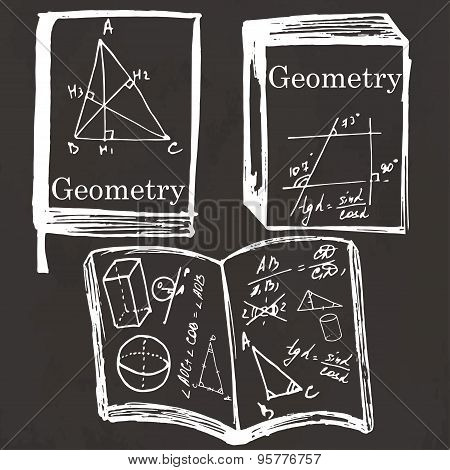 Set Of Physics Textbook, Workbook On School Board.