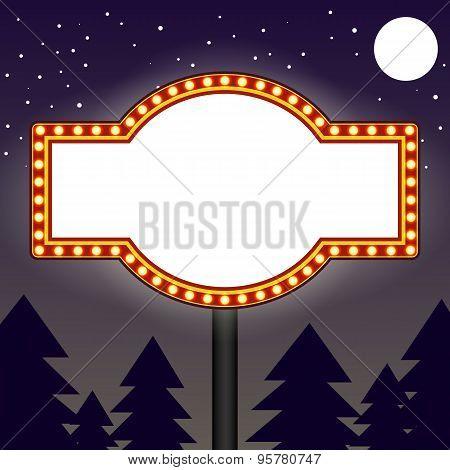 Marquee light bulbs billboard