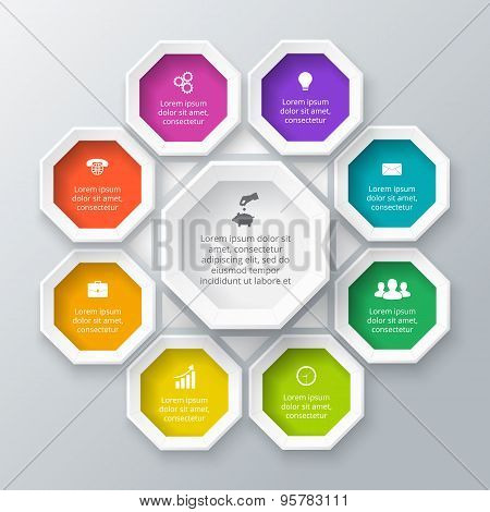 Vector octagon element for infographic.
