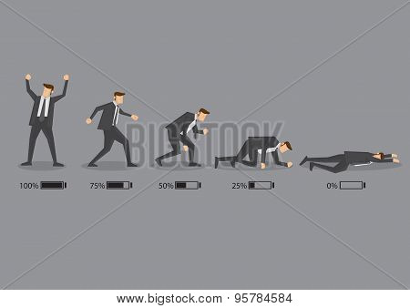 Business Executive And His Energy Level Concept Vector Cartoon Illustration
