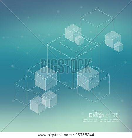 Abstract neat Blurred Background with transparent cubes,
