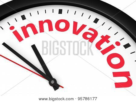Time for innovative business concept with a clock and innovation word and sign printed in red 3d render image. poster