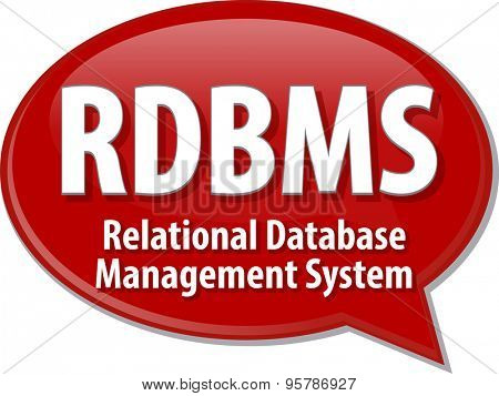 Speech bubble illustration of information technology acronym abbreviation term definition RDBMS Relational Database Management System poster