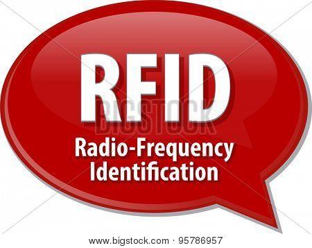 Speech bubble illustration of information technology acronym abbreviation term definition RFID Radio Frequency Identification
