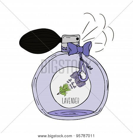 Hand Drawn illustration of a perfume bottle with lavender scent