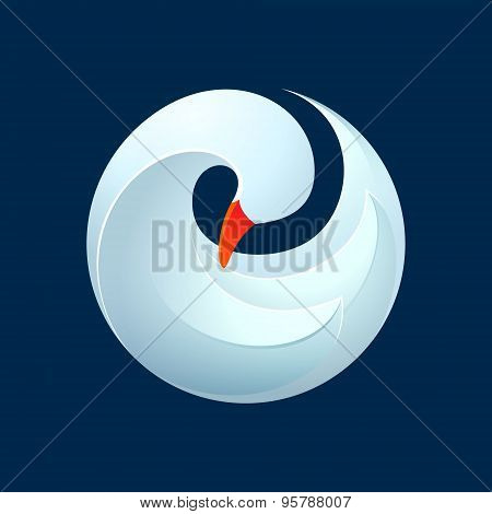 Twist Volume Goose, Swan, Bird In Vector