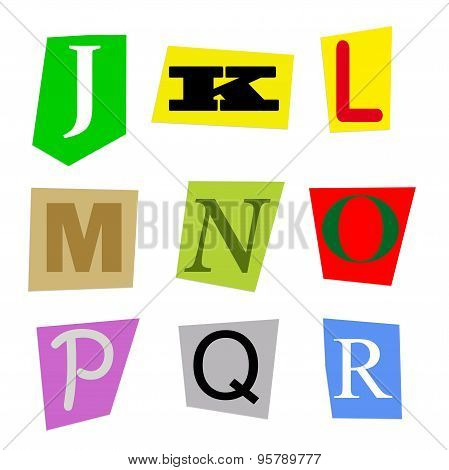 cut out letters J to R