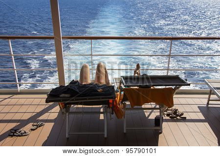 Sunbathing On The Deck Cruise Ship