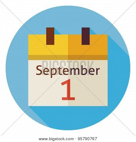 Flat Back To School September Calendar Circle Icon With Long Shadow
