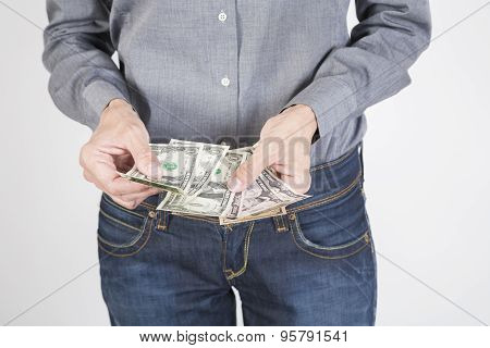 Woman Hands Counting Dollars