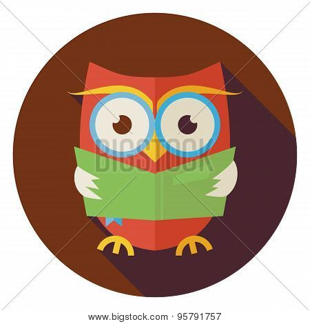 Flat Wisdom Bird Owl Reading Book Circle Icon With Long Shadow