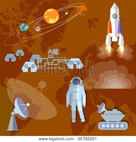 Astronaut in space study of Mars planet orbit spacecraft mars roverspaceship. Vector Illustration poster