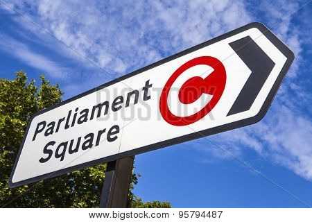 Parliament Square Road Sign In London
