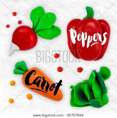 Plasticine vegetables carrot
