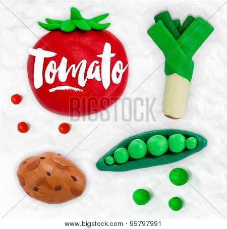 Plasticine vegetables tomato