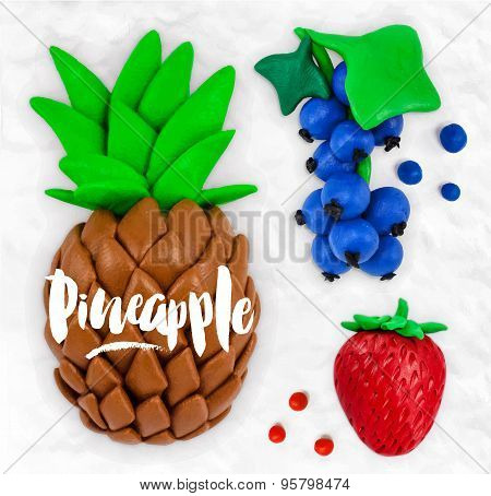 Plasticine fruits pineapple