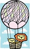 two lions in a pink balloon with clouds. poster