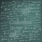 Calculus law theory and mathematical formula equation doodle handwriting icon in blackboard background with hand drawn model create by vector poster