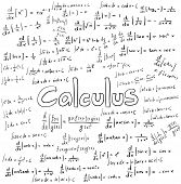 Calculus law theory and mathematical formula equation doodle handwriting icon in white isolated background with hand drawn model create by vector poster