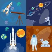 Space program: astronaut rocket planet sputnik mars rover exploration flat vector illustration poster