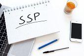 SSP - Supply Side Platform - handwritten text in a notebook on a desk - 3d render illustration. poster