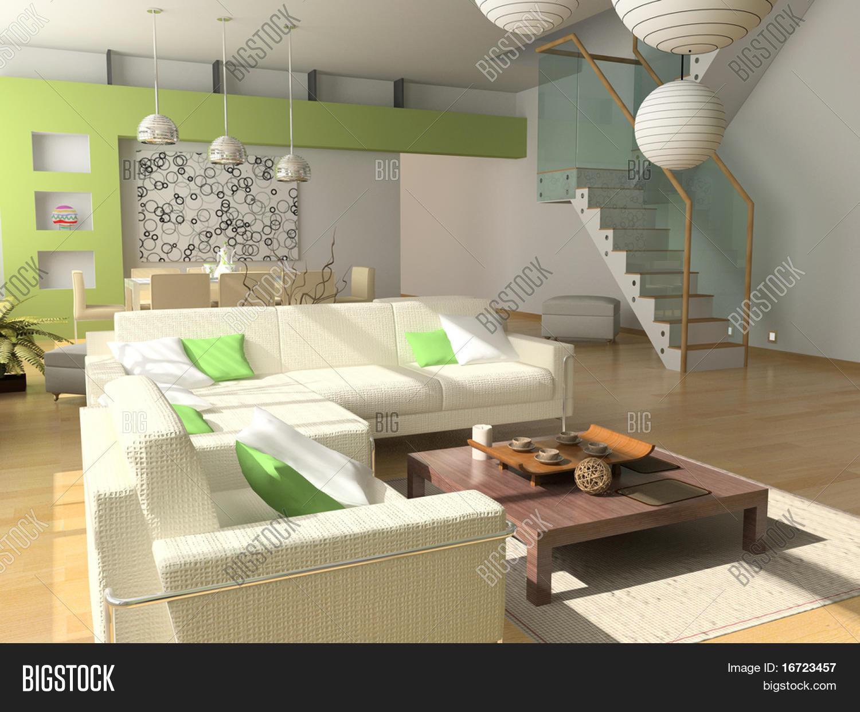 Modern Interior Design Private Apartment 3d Rendering