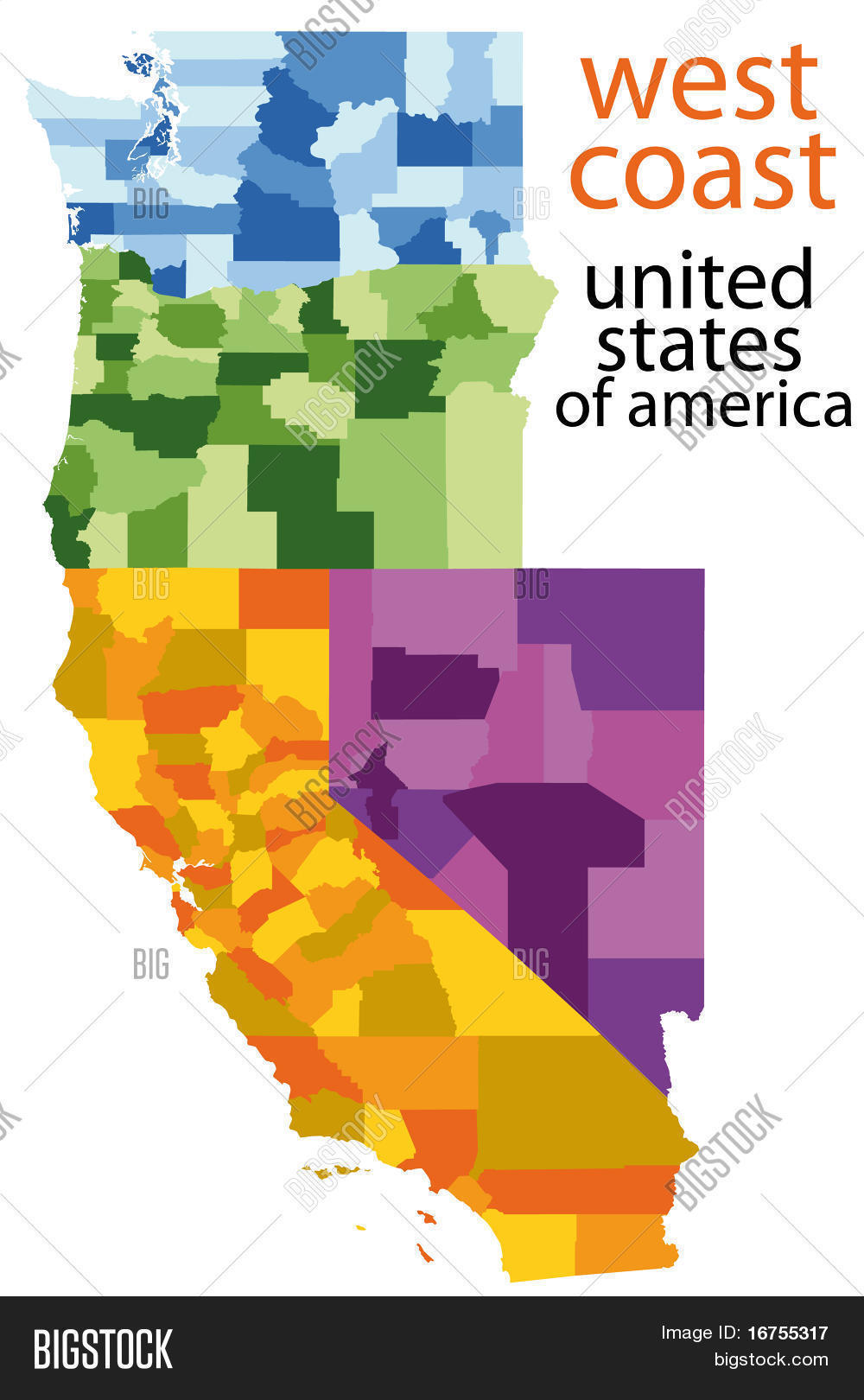 Detailed Vector Map Vector Photo Free Trial Bigstock - West-coast-of-us-map