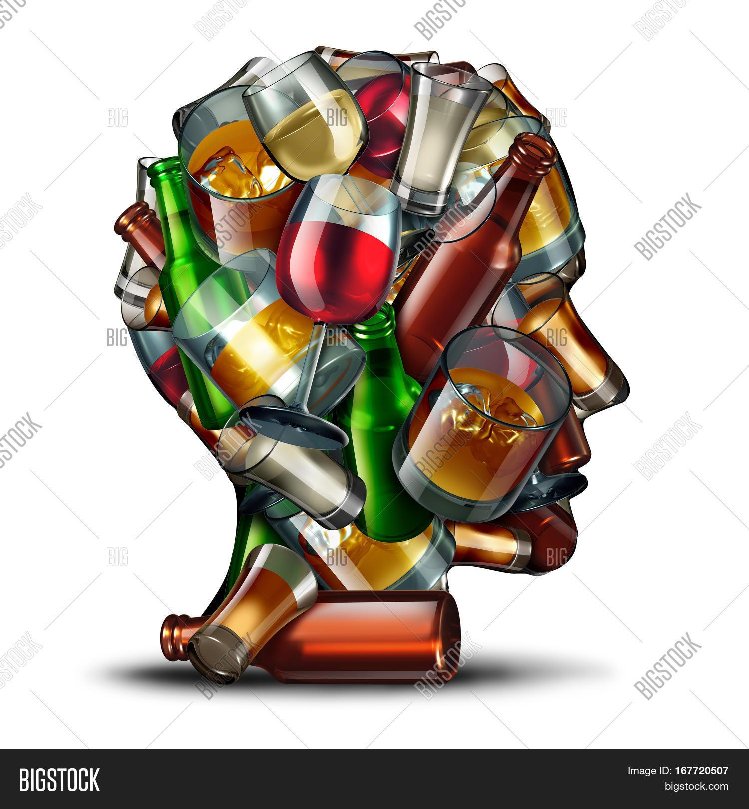 Alcohol psychology alcoholism image photo bigstock alcohol psychology and alcoholism concept as a group of beer wine and hard liquor glasses shaped buycottarizona