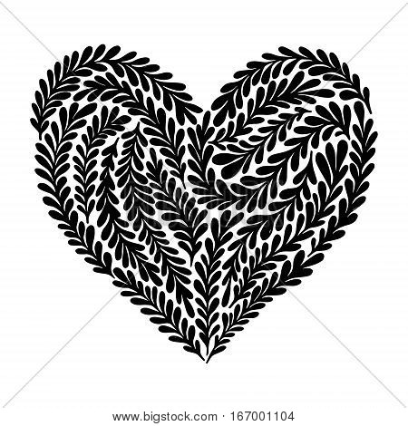 Hand drawn vector illustration - heart in floral style. Happy Valentine day. Perfect for invitations greeting cards posters prints