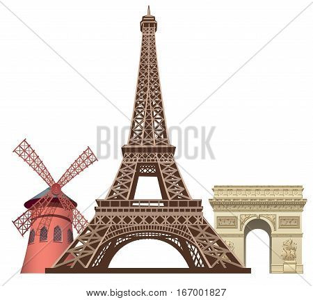 illustration of landmarks in paris Moulin rouge Triumphal arc and eiffel tower