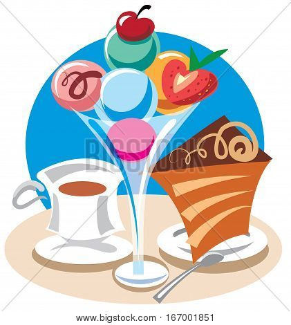 illustration of ice cream dessert with cake and coffee