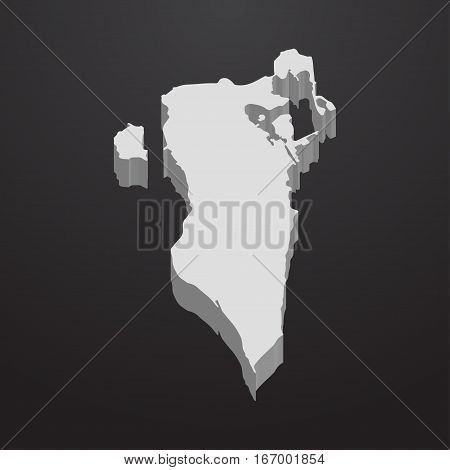 Bahrain map in gray on a black background 3d