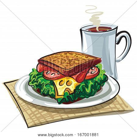 illustration of sandwich with sausage cheese and mug of coffee