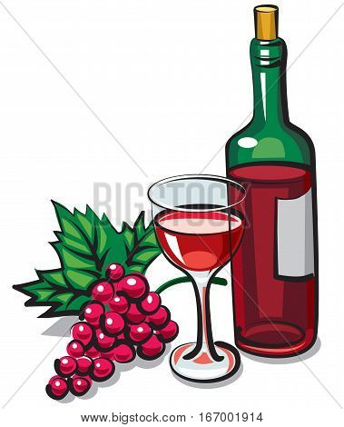 illustration of bottle red dry wine with goblet and grape
