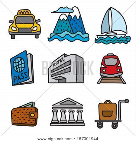 set of travel and resort icons sea cruise and journey